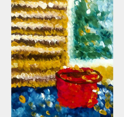 Elenka Ivankova. Still life with a red bucket. Gouache on paper, 2017