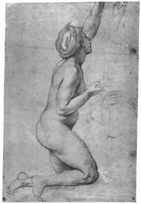 Raphael Sanzio. Study for the frescoes of the Loggia of psyche. Sketch Nude