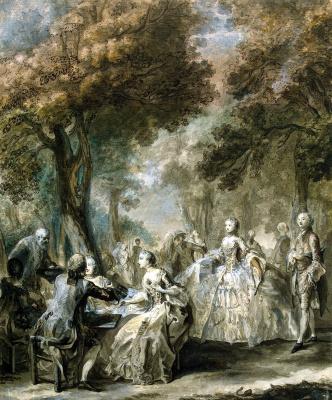 Габриель де Сент-Обен. Общество на прогулке