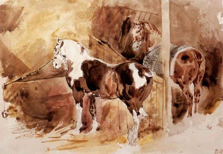Эжен Делакруа. Две лошади в стойле