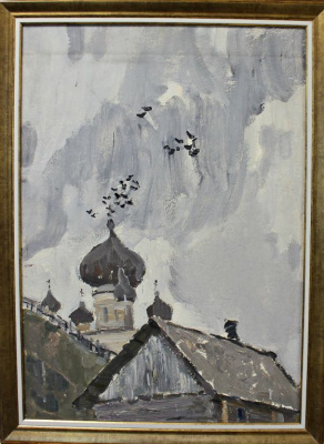 Petr Filippovich Alberti. Ladoga. Flock of birds on the dome of the church