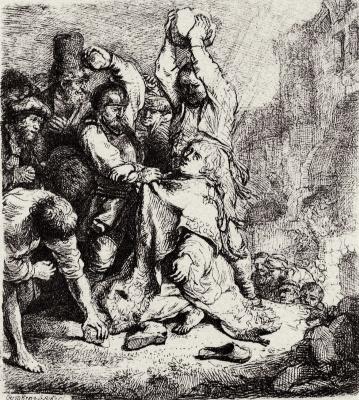 Rembrandt Harmenszoon van Rijn. The stoning of Saint Stephen