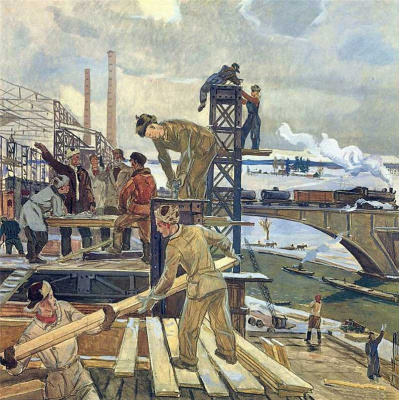 """Alexander Alexandrovich Deineka. Sketch for the painting """"In the vast suburban settings"""""""