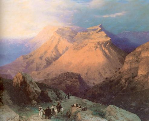 Иван Константинович Айвазовский. Аул Гуниб в Дагестане. Вид с восточной стороны