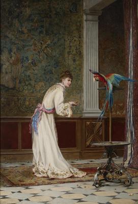 Дама с попугаем .