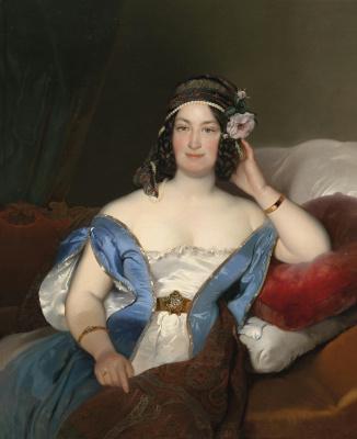 Фридрих фон Амерлинг. Портерт дамы с розой в волосах.