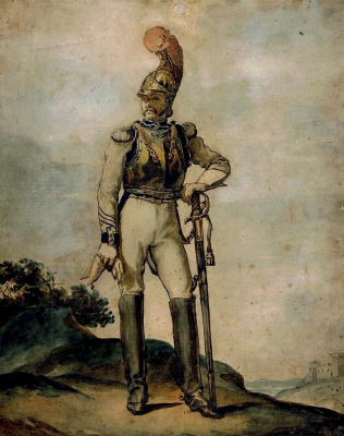 Théodore Géricault. The officer in the background landscape