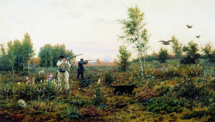 Alexey Danilovich Kivshenko Russia 1851-1895. On grouse broods. 1888