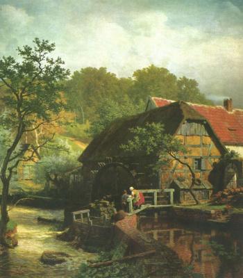 Andreas Achenbach. Watermill in Westphalia