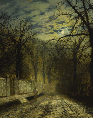 John Atkinson Grimshaw. Street in the moonlight
