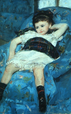 Mary Cassatt. Little girl on a blue chair. Fragment