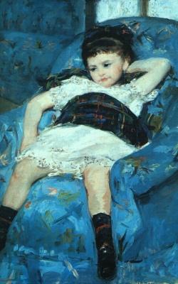 Mary Cassatt. Little girl on a blue chair. Fragment