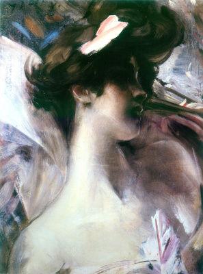 Giovanni Boldini. Lina Cavalieri (Portrait on a pink background)