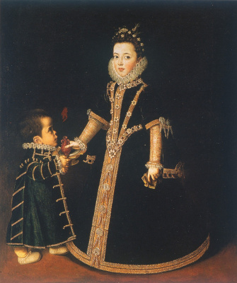 Sofonisba Angisola. Girl with a dwarf (Portrait of Margarita of Savoy)