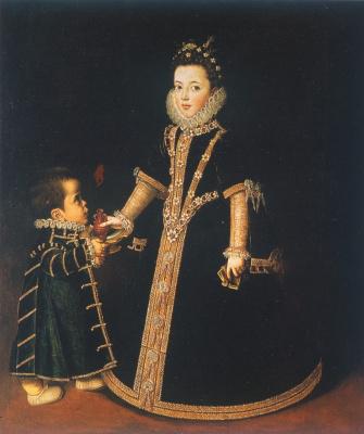 Sofonisba Anguissola. Girl with a dwarf (Portrait of Margarita of Savoy)