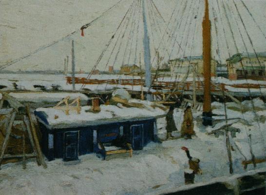 Константин Федорович Юон. Зимой на баржах. 1902