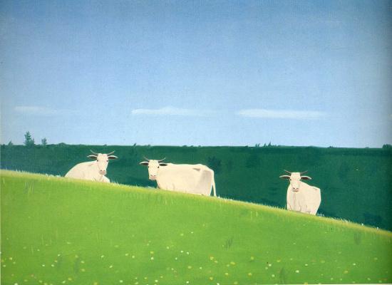 Alex Katz. Three cows