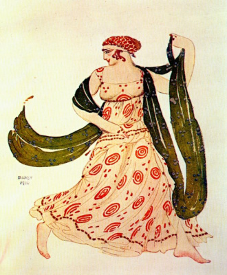 Lev Samoilovich Bakst (Leon Bakst). Costume design for the ballet Cleopatra - Greek dancer
