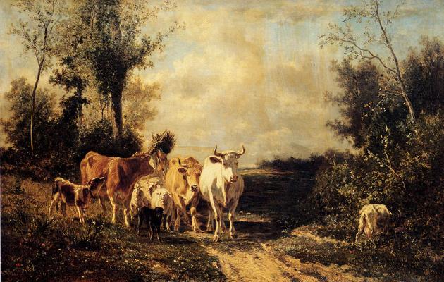 Констант Труайон. Рогатый скот пасется