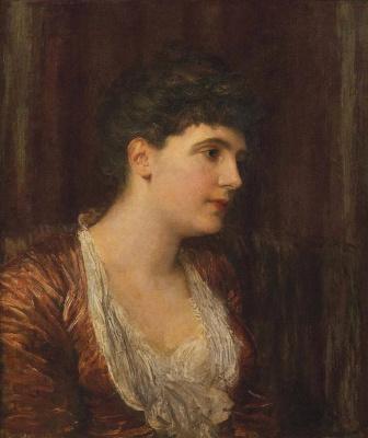 Джордж Фредерик Уоттс. Миссис Мануэль, урожд Софи Ионид, в красном платье.