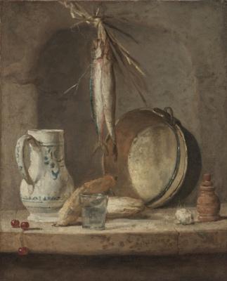 Jean Baptiste Simeon Chardin. Still life with jug and herring