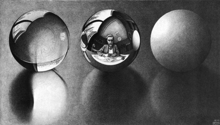 Maurits Cornelis Escher. Three spheres 2