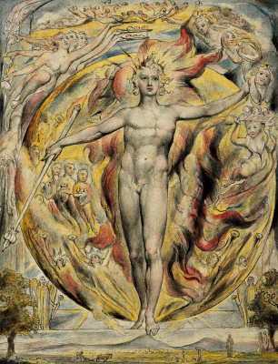 """William Blake. The sun at his Eastern gate. Illustrations to the poems of Milton's """"Fun"""" and """"Thoughtful"""""""