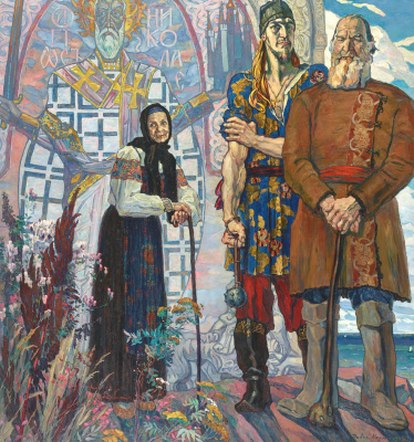 """Pavel Dmitrievich Korin. An ancient tale. The right part of the triptych """"Alexander Nevsky"""""""