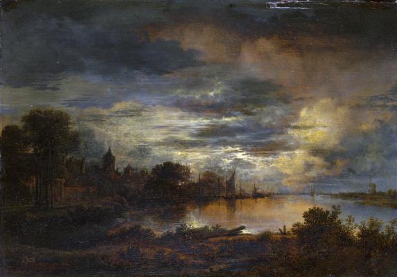 Art van der Ner. Village on the banks of the river in the moonlight