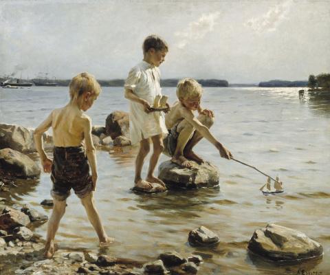 Albert Gustav Aristide Edelfelt. Boys play on the beach. 1884