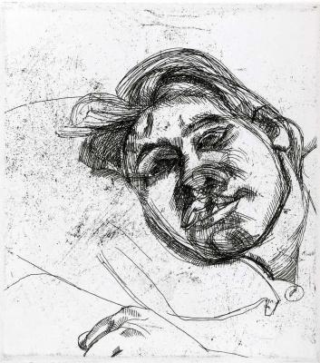 Lucien Freud. Sleeping head