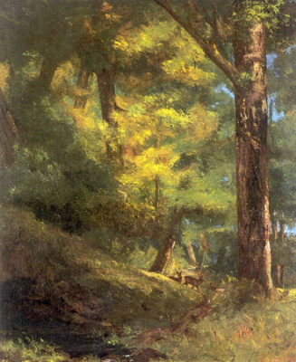 Gustave Courbet. Two deer in the woods