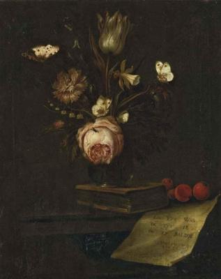 Отто Марсеус ван Скрик. Тюльпан, гвоздика, нарцисс в вазе