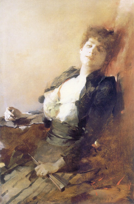 Францишек Жмурко. Портрет женщины с веером