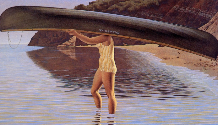 Alex Colville. Woman carrying canoe