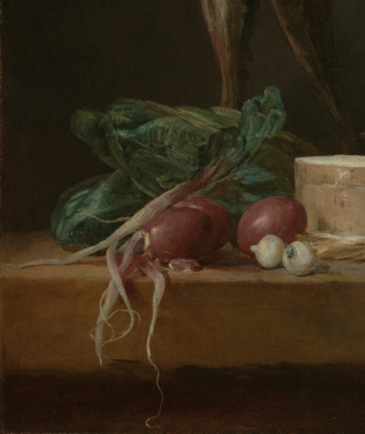 Jean Baptiste Simeon Chardin. Still life with fish, vegetables and kitchenware. Fragment