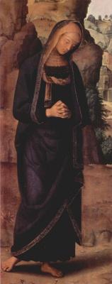 Пьетро Перуджино. Голицинский триптих, центральная часть: Распятие с Марией и св. Иоанном, деталь: Мария