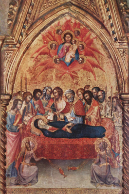 Bartolo di Fredy. Triptych of the Cappella delle Carceri, San Francesco in Montalcino, right wing: Farewell Mary with the apostles and the Death of Maria