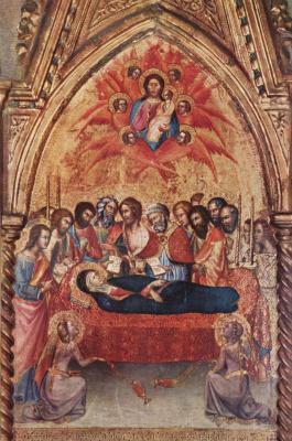 Бартоло ди Фреди. Триптих из Капеллы делле Карчери в Сан Франческо в Монтальчино, правая створка: Прощание Марии с апостолами и Смерть Марии