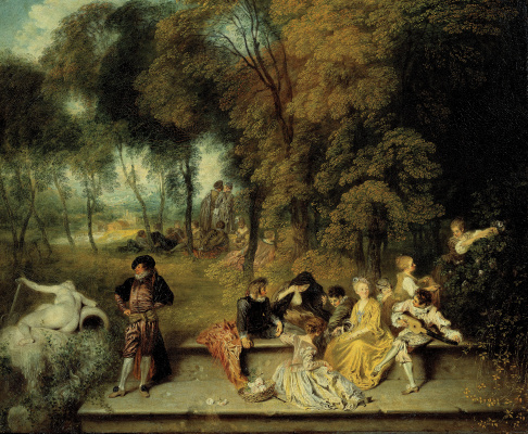 Antoine Watteau. The company is in the lap of nature