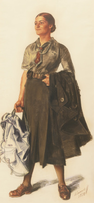 Alexander Yevgenyevich Yakovlev. Anita Lopez in the form of a scout. 1934