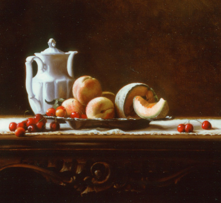 Морин Хайд. Натюрморт с черешней и персиками