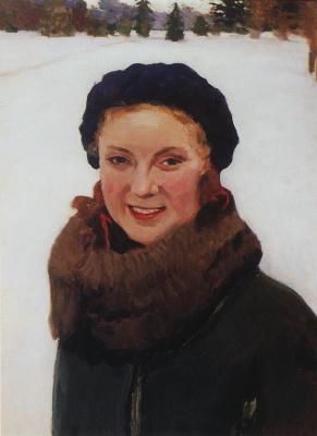 Igor Grabar. Winter. Portrait of O. Grabar, the artist's daughter