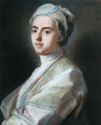 Rosalba Carriera (Carrera). A young man in the embroidered console