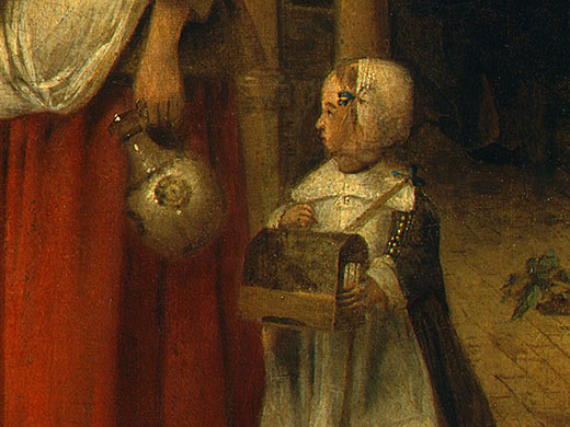 Pieter de Hooch. A woman with a child in the yard. Fragment