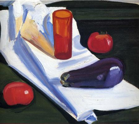 Луиза Метьюсдоттир. Натюрморт с овощами и красным стаканом