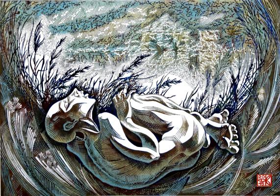 """Vladimir Kataev. """"Birthday Komar-2"""", X3/M, A/R, 45 X 65 cm, 2015"""
