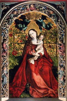 Martin Schongauer. Madonna in pink