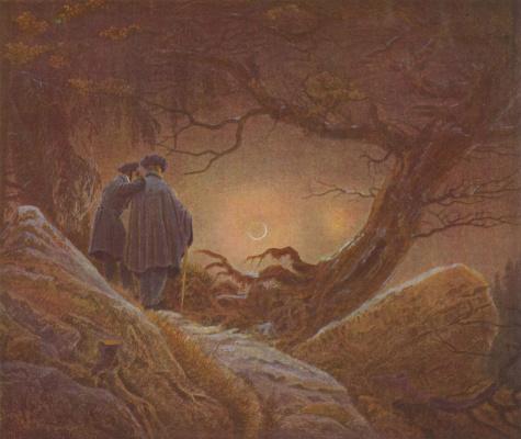 Caspar David Friedrich. Two men gazing at the moon