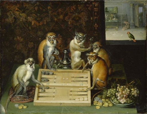 Frans Franken the Younger. Monkeys playing backgammon